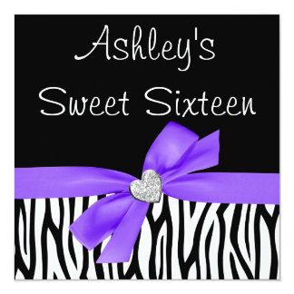 Invitaciones púrpuras del dulce 16 del diamante invitación 13,3 cm x 13,3cm