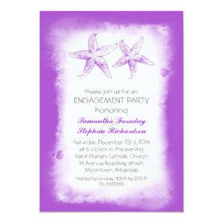 invitaciones púrpuras del fiesta de compromiso de comunicado