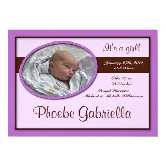 Invitaciones púrpuras del nacimiento de la raya de invitación 12,7 x 17,8 cm