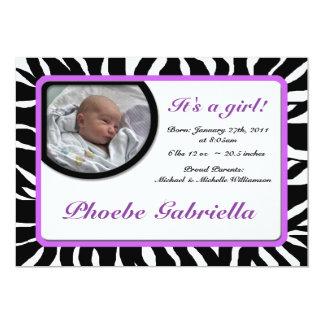 Invitaciones púrpuras del nacimiento del estampado invitación 12,7 x 17,8 cm