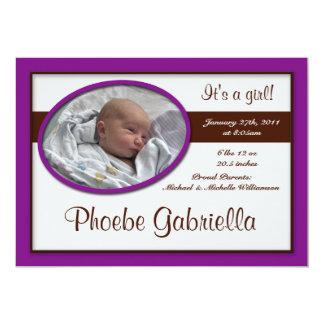 Invitaciones púrpuras oscuras del nacimiento de la invitación 12,7 x 17,8 cm