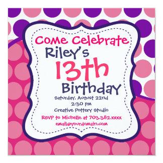 Invitaciones púrpuras rosadas de la fiesta de invitación 13,3 cm x 13,3cm
