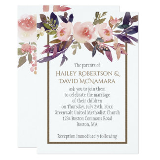 Invitaciones púrpuras rosadas del verdor del invitación 12,7 x 17,8 cm