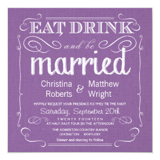 Invitaciones púrpuras violetas del boda de la invitación 13,3 cm x 13,3cm