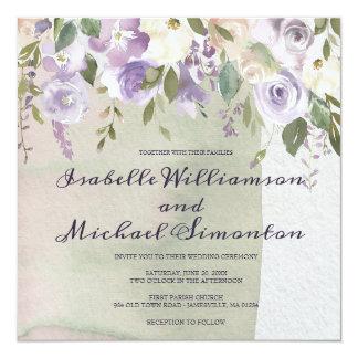 Invitaciones púrpuras y de marfil en colores