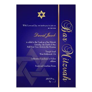 INVITACIONES REALES de PixDezines BLUE/GOLD/BAR Invitación 12,7 X 17,8 Cm