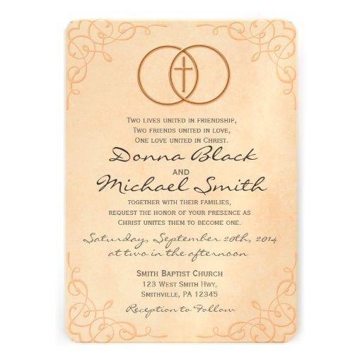 Invitaciones religiosas cruzadas cercadas del boda comunicado personal