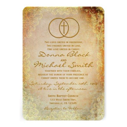 Invitaciones religiosas cruzadas cercadas del boda comunicado