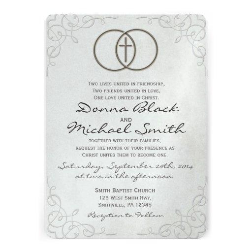 Invitaciones religiosas cruzadas cercadas del boda invitación