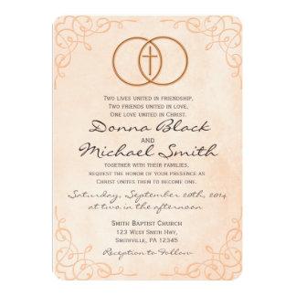 Invitaciones religiosas cruzadas cercadas del boda invitación 12,7 x 17,8 cm