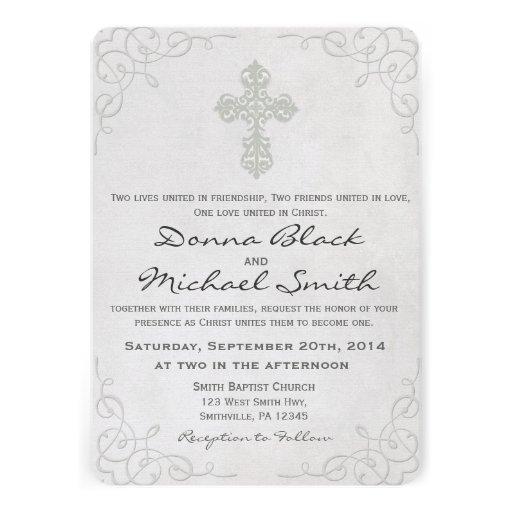 Invitaciones religiosas cruzadas delicadas del bod comunicado personal