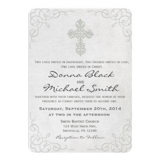 Invitaciones religiosas cruzadas delicadas del invitación 12,7 x 17,8 cm