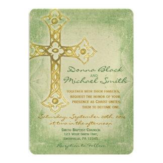 Invitaciones religiosas de la esquina cruzadas del invitación 12,7 x 17,8 cm
