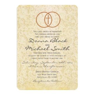 Invitaciones religiosas del boda del cordón del invitación 12,7 x 17,8 cm
