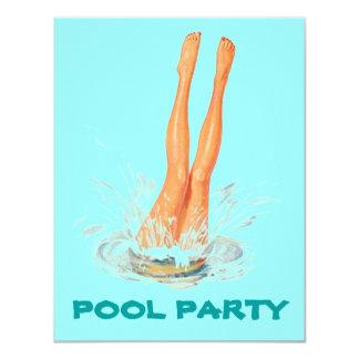 Invitaciones retras de la fiesta en la piscina de invitación 10,8 x 13,9 cm