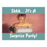 Invitaciones retras de la torta de cumpleaños del  invitaciones personalizada