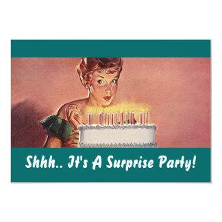 Invitaciones retras de la torta de cumpleaños del invitación 12,7 x 17,8 cm