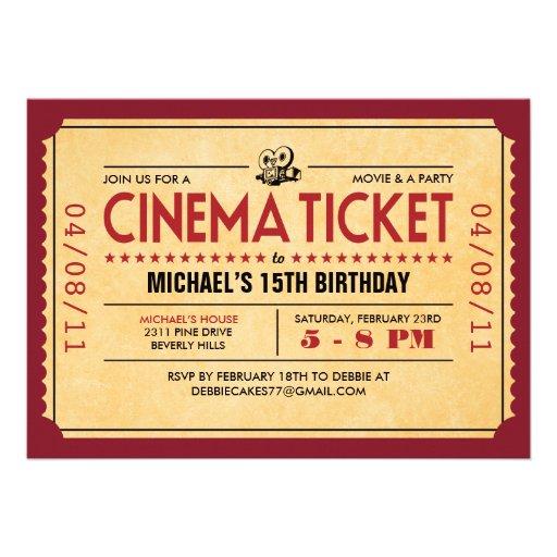 Invitaciones retras del boleto de la película comunicados personalizados