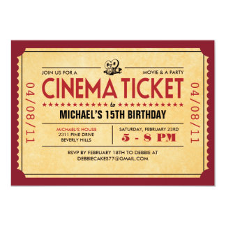 Invitaciones retras del boleto de la película invitación 12,7 x 17,8 cm