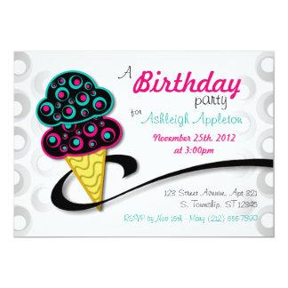 Invitaciones retras del cumpleaños del cono de invitación 12,7 x 17,8 cm