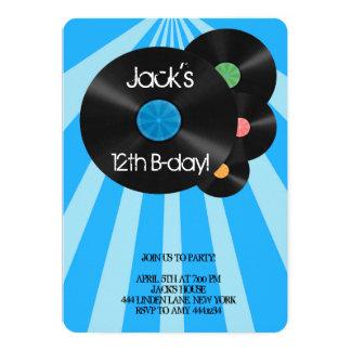 Invitaciones retras del cumpleaños del disco de invitación 12,7 x 17,8 cm