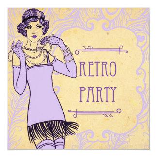 Invitaciones retras del fiesta del chica de la invitación 13,3 cm x 13,3cm