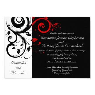 Invitaciones reversas negras/blancas/rojas del invitación 12,7 x 17,8 cm