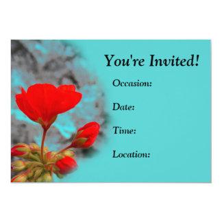 Invitaciones rojas bonitas de la flor invitación 12,7 x 17,8 cm