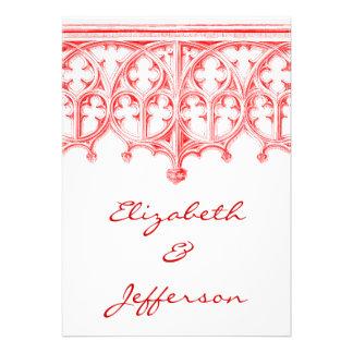 Invitaciones rojas color de rosa del boda de la ca