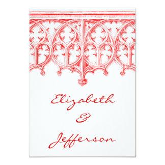 Invitaciones rojas color de rosa del boda de la invitación 12,7 x 17,8 cm