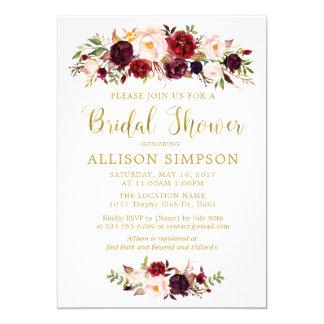 Invitaciones rojas de BridalShower del oro del