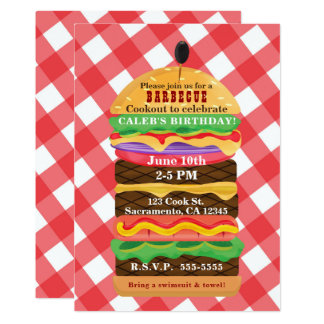 Invitaciones rojas de la barbacoa del Cookout del