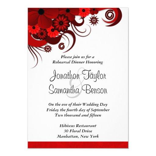 Invitaciones rojas de la cena del ensayo del boda ...