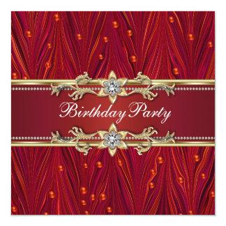 Invitaciones rojas de la fiesta de cumpleaños del invitación 13,3 cm x 13,3cm