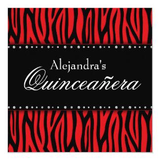 Invitaciones rojas de Quinceanera de los diamantes Invitación 13,3 Cm X 13,3cm