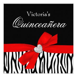 Invitaciones rojas de Quinceanera del diamante del