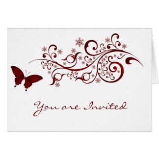 Invitaciones rojas del boda de la mariposa tarjeta pequeña