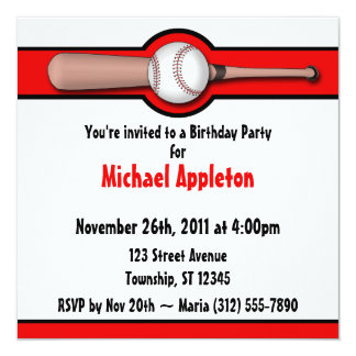 Invitaciones rojas del cumpleaños del béisbol invitación 13,3 cm x 13,3cm
