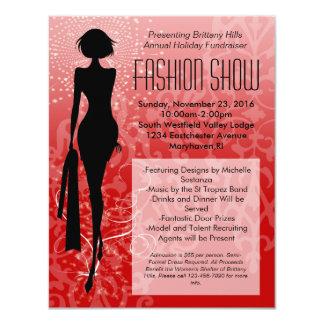 Invitaciones rojas del desfile de moda de la invitación 10,8 x 13,9 cm