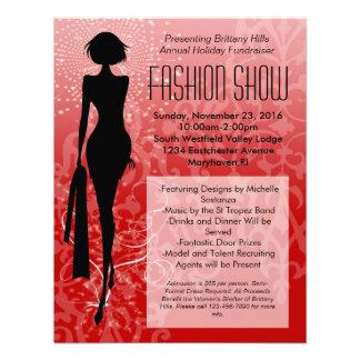 Invitaciones rojas del desfile de moda de la silue comunicado