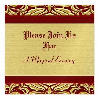 Invitaciones rojas del día de fiesta del metal del invitaciones personales