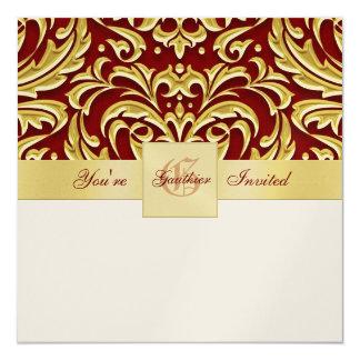 Invitaciones rojas del día de fiesta del metal del invitación 13,3 cm x 13,3cm
