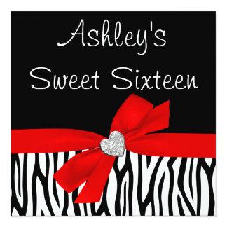Invitaciones rojas del dulce 16 del diamante del invitación 13,3 cm x 13,3cm