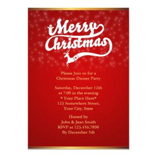 Invitaciones rojas del fiesta de cena de navidad invitación personalizada