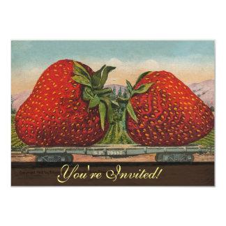 Invitaciones rojas del tren de las fresas del invitación 11,4 x 15,8 cm