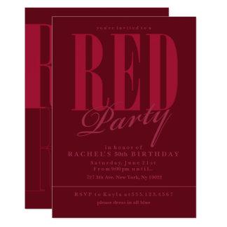 Invitaciones rojas radiantees del fiesta invitación 12,7 x 17,8 cm