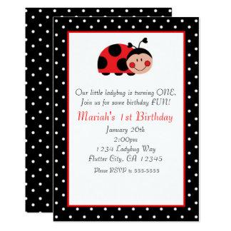 Invitaciones rojas y negras de la mariquita del invitación 12,7 x 17,8 cm