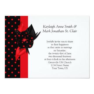 Invitaciones rojas y negras del boda del lunar invitación 13,9 x 19,0 cm