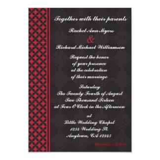 Invitaciones rojas y negras del boda invitación 12,7 x 17,8 cm