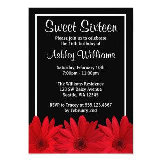 Invitaciones rojas y negras del dulce 16 de la invitación 12,7 x 17,8 cm